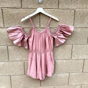 NWT Who I Am Cold Shoulder Pink Ruffle Romper
